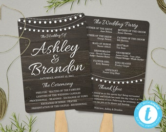Rustic Wedding Program Fan Template, Rustic Wedding Fan Program Template, Ceremony Program, Rustic Wedding Fans