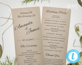 Printable Rustic Wedding Program Template, Instant Download Ceremony Program, Kraft Wedding Program, Tea Length Program
