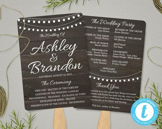 rustic wedding program fan template rustic wedding fan