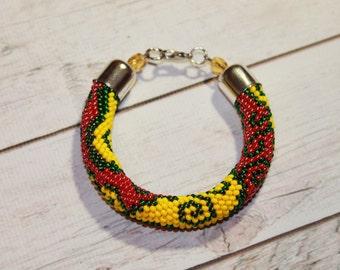 Cool yellow bracelet Green bracelet Dark red bracelet Bridesmaid gift Rope bracelet Jewelry gift for her Beaded jewelry Big summer sale
