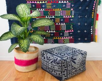 Indigo Chinese Batik Floor Pouf