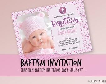 Pink Baptism Invitation - Christening Invitation - PSD Boy Baptism - Boy Christening - Printable Baptism - Printable Christening