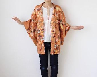 orange silk kimono, Haori, Japanese kimono, short kimono, silk short robe, kimono robe, orange haori, floral kimono, silk short robe /1620