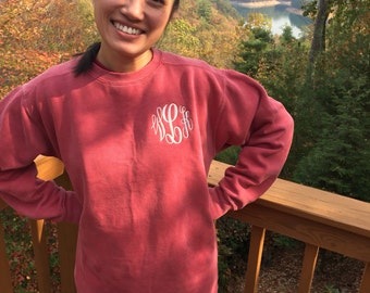 Monogram Comfort Color Sweatshirt / monogrammed pullover