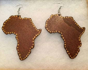 Large Hand Painted African Earrings