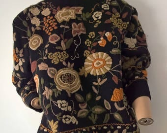 Vintage 80s stitched floral drop sleeved crew neck wool pullover sweater size 16-18