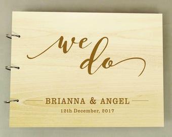 Wood Engraved Wedding Guest book, Rustic Guestbook, Sign In Book, Custom Wedding Guestbook, Personalized Scrapbook, Bridal Shower Gift PGB67