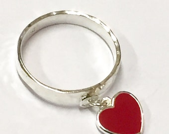 Heart ring, charm ring, red heart ring, hammered silver ring, love heart ring, modern heart ring, sterling silver ring, dangly charm ring