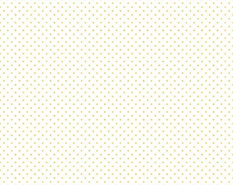 Yellow Swiss Dots on White by Riley Blake Designs - Polka Dot - Quilting Cotton Fabric - by the yard fat quarter half