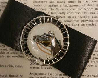 Black Leather Cuff, Leather Cuff Bracelet, Leather Wristband, Upcycled Jewelry,  Unique Cuff, Western Bracelet, Horse Bracelet