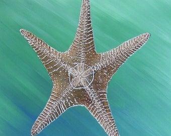 Starfish Painting Large Starfish Starfish Decor Original Starfish Realistic Starfish Art Ocean Teal Painting Teal Art
