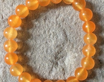 South American orange Jade semi precious 8mm gemstone bracelet
