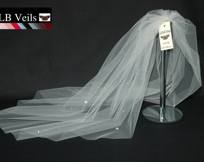 Designer Ivory Wedding Veil 1 Single Tier Crystal Diamante And Pearl Flowers Any Length LBV38s LB