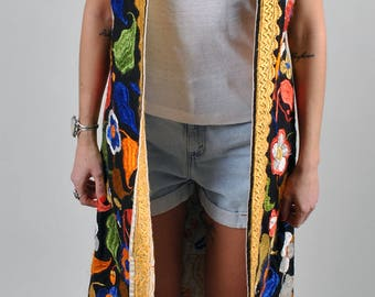 Vintage 1960's Embroidered Hippie Floor Length Vest - Collectors Item  S3
