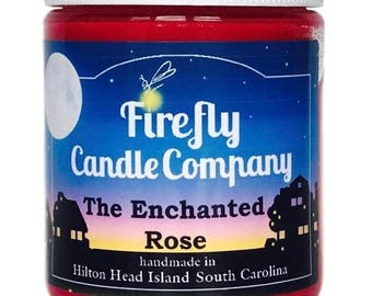 The Enchanted Rose Soy Candle- Beauty and the Beast Candle- Floral Candle- Valentines Candle 8oz