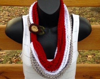 Ohio state scarf, OSU cowl, football fan gift,red white gray scarf, soft scarf, comfy scarf, lightweight infinity scarf