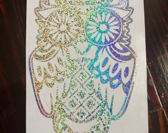 Holographic Owl Decal | Sugar Skull Decal | Glitter Owl Sticker | Tribal Owl | Sugar Skull Owl