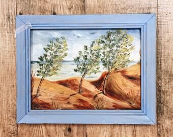 Vintage Landscape Painting / Vintage Painting / Vintage Seascape / Vintage Framed Art / 1984 vintage painting