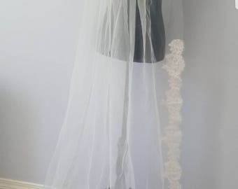 1 Tier Light Ivory or White Bridal Floor Length Veil Partial French Alencon Lace Made to Order