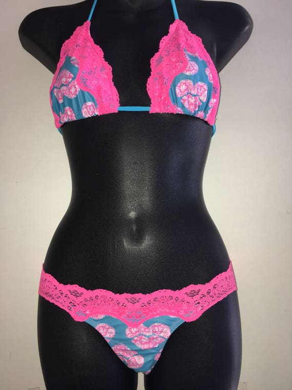 ORIGINAL *** MissManeater SWEETHEART sliding triangle lace edge bikini top with lace waist boutique bikini pant ***SUPER low rise!