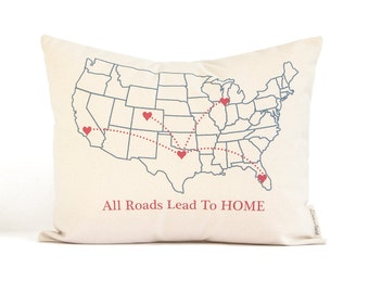 "Family Map Pillow, ""All Roads Lead To Home"", Gift for Parents, Housewarming Gift, 2nd Anniversary, Personalized Pillows"