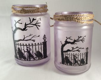 Glass Jar Candle Holder, Disneyland's Haunted Mansion Silhouettes, Hitchhiking Ghosts