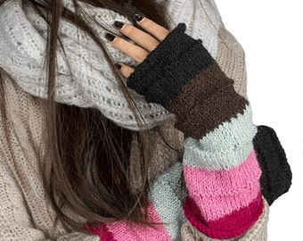 Wool Arm Warmers, Knit Wrist Warmers, Pink Fingerless Gloves, Hand Warmers, Winter Gloves, Wool gloves