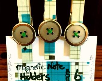 Clothespin Refrigerator Magnets/Fridge Magnets/Retro Button Magnets /Peg Magnet Set if 3