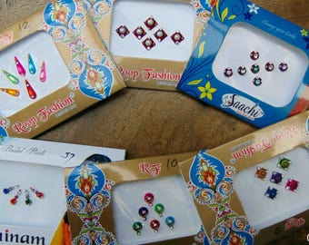 6 Bindi packs - Multicolor Bindi Indian Traditional Forehead Tattoo Stickers Bollywood Bindis - Bindi Sticker/Bindi Jewels/Face Jewels