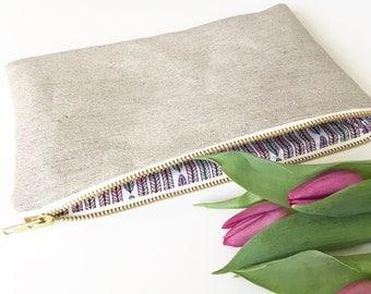 Wedding Clutch bag, Bridesmaid clutch, Maid of Honor gift, Summer wedding, Organic Hemp and Cotton clutch bag Plumes Lavender CB004