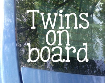 Twins on board Window Decal | Car Decal | New Baby | Baby Shower Gift | Baby on board Sticker | Twins | Twin Baby Gift | Twinning | Safety