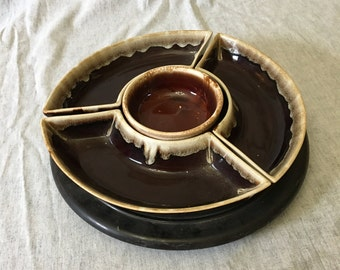 Vintage Pfaltzgraff Gourmet Brown Drip Lazy Susan 5 Piece Relish Set