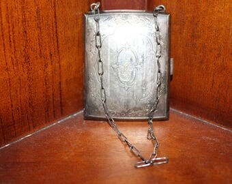 VintageVictorian Ladies Silver cigarette or money case with chain Etched with EWB.