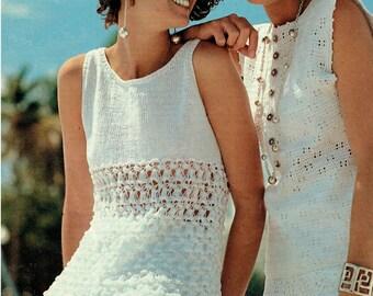 Pretty Ladies Summer Tunics Knitting & Crochet Pattern, Lacy Beach Bikini Cover Up, 1960s style, Mod, Boho, Modern, Baby Doll