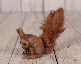 Stuffed Squirrel Figurine  Vintage Squirrel Small Squirrel Vintage squirrel figure