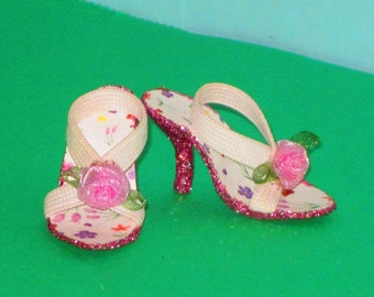 Miss Revlon 18 in PINK ROSES SHOES for 18 inch Miss Revlon style high heeled fashion dolls, doll shoes, fashion doll shoes, 18 inch doll