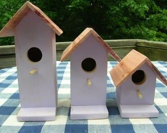 Cedar Birdhouses - Light Lavendar - Decorative for Porch, Deck, Patio, Summer Garden