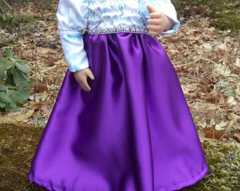 "18"" purple,silver,blue doll gown, floorlength doll gown, long sleeved doll gown, hand printed fabric doll gown, purple/silver/blue doll gown"