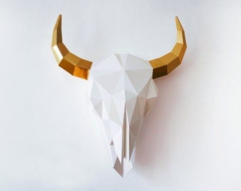 Bison Skull, Paper Sculpture, Bison Sculpture, DIY Printable Paper Art, Home decoration , DIY Wall Decor, Interior Paper Art, Pdf download,