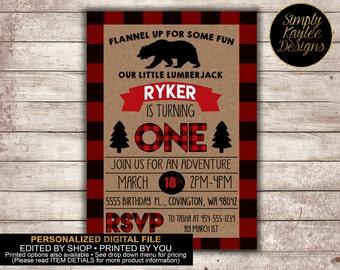 Lumberjack First Birthday Invitation