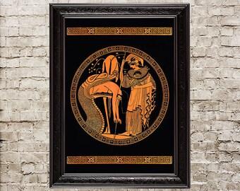 Jason disgorged by the dragon, ancient Greece, myth, mythology, initiation, dragon, snake, serpent,  initiation ceremony, ritual, print, 142