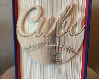 Chicago Cubs Baseball Book Sculpture