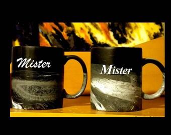 Mr and Mr Coffee Mugs/Gay Wedding Gift Coffee Mugs/Hand Painted Gray Black Coffee/Black Marbled Mug/Mr Mr Black Gray Mugs/Marbled Black Mugs