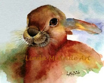 Brown Bunny 3x3 gift enclosure card from my original watercolor painting with envelope.