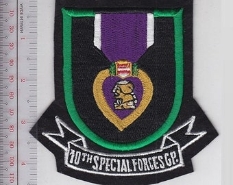 Green Beret US Army 10th Special Forces Group Airborne Flash & Purple Heart