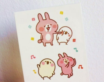 Kanahei The Dancing Rabbit - Temporary Tattoos // Cute // Animals // Rabbit & Chick // Tumblr Style // Summer // Party