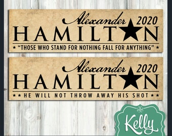 Hamilton 2020 bumper sticker - Alexander Hamilton for President 2020