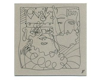 Mural, lines, body, people, heads, faces, drawing, abstract art original