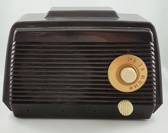 Vintage Tube Radio, Marconi Black Bakelite tube Radio, Art Deco Home Decor, Art Deco Radio, Black Radio