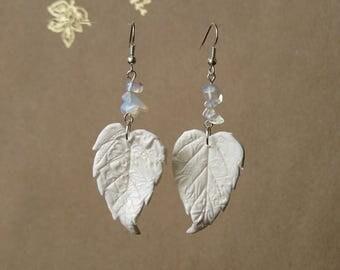 White dangle earrings Fairy wedding earrings White earrings Angel wing earrings White leaf earrings Opalite earrings Fairy earrings dangle